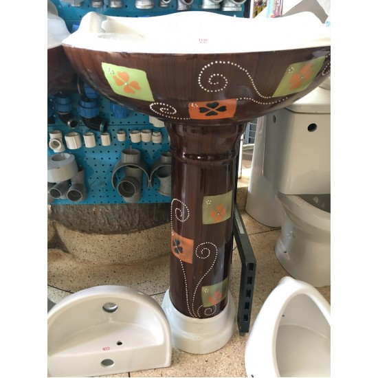 Top Anchor Ceramic Flower painted big Sink with the stand brown