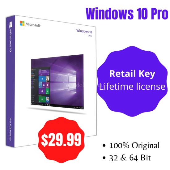 Windows 10 Pro with Retail Key (Lifetime License)